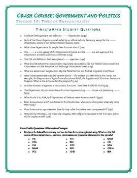 Crash Course U.S. Government Worksheets Episodes 16-20