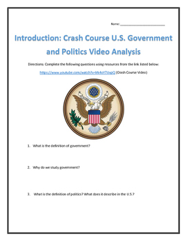 An Introduction: Crash Course U.S. Government and Politics