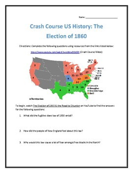 Crash Course U.S. History #18- Election of 1860 Video Analysis