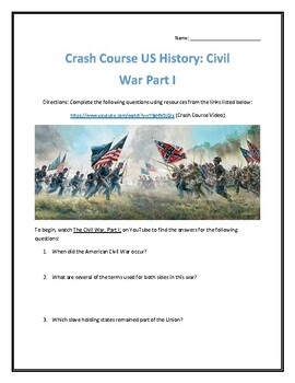 Crash Course U.S. History #20- Civil War Part 1 Video Analysis