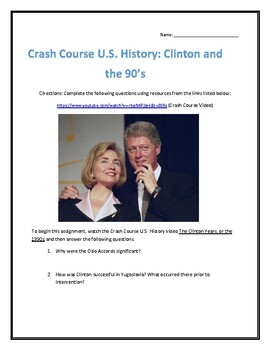 Crash Course U.S. History #45- Clinton and the 90's Video Analysis