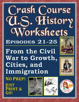 Crash Course U.S. History Worksheets: Episodes 21-25