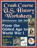DISTANCE LEARNING Crash Course U.S. History Worksheets: Ep