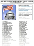 Crash Course US Government and Politics Worksheets Complet