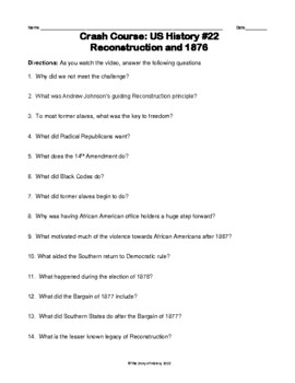 Crash Course US History #22--Reconstruction and 1876 Questions and Key