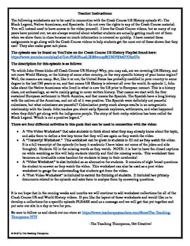 Crash Course US History Episode 1 Worksheet Pack