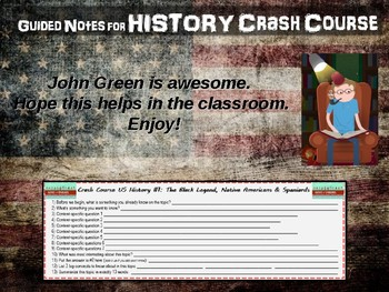 Crash Course US History GUIDED NOTES #2 - When is Thanksgiving, Colonizing