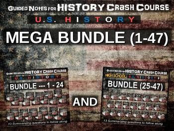 Crash Course US History GUIDED NOTES MEGA BUNDLE #1 through #47