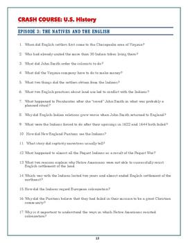 Crash Course US. History Worksheets: Episodes 1-10 BUNDLE