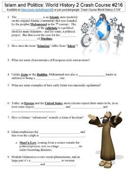 Crash Course World History 2 #216 (Islam and Politics) worksheet