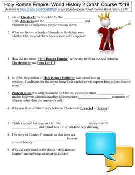 Crash Course World History 2 #219 (Holy Roman Empire) worksheet