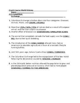 columbian exchange worksheet answer key