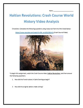 Crash Course World History #30- Haitian Revolutions Video Analysis