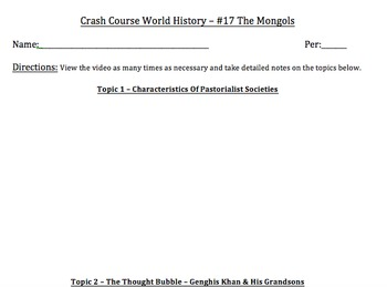 Crash Course World History & Crash Course World History II - Video Worksheets