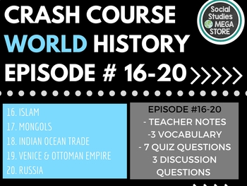 Crash Course World History Ep. 16-20
