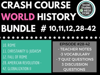Crash Course World History First Semester  (Ep. 10, 11, 12, 28-42)