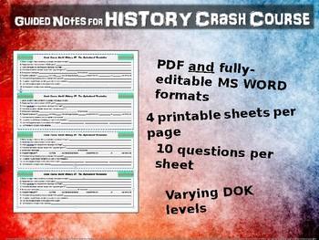Crash Course World History GUIDED NOTES MEGA BUNDLE!!! (1 through 42)