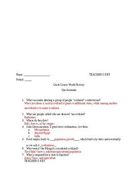 Crash Course World History II worksheets