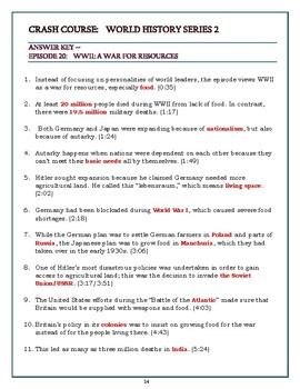 Crash Course World History SEASON 2 Episode 20 Worksheet: WW2: War for Resources