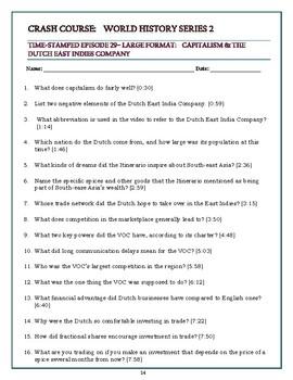 Crash Course World History SEASON 2 Episode 29 Worksheet: Dutch East India Co.