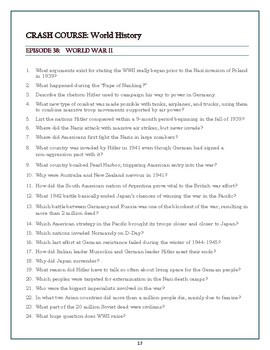 Crash Course World History Worksheets Episodes 36-42
