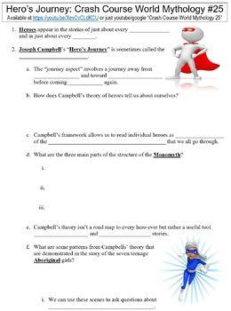 Crash Course World Mythology #25 (The Hero's Journey) worksheet