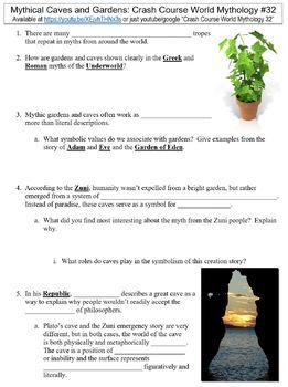 Crash Course World Mythology #32 (Mythical Caves and Gardens) worksheet