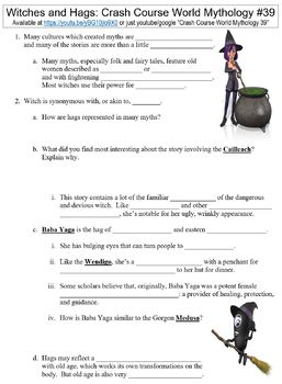Crash Course World Mythology #39 (Witches and Hags) worksheet