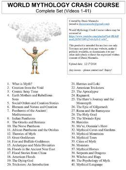 Crash Course World Mythology Worksheets Complete Set (Full Bundle Collection)