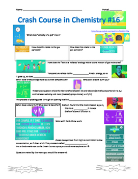 Crash Course in Chemistry 16 Effusion, Diffusion, Velocity of a Gas