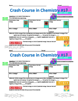 Crash Course in Chemistry 17 Chemistry and Energy