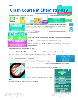 Crash Course in Chemistry 19 Calorimetry