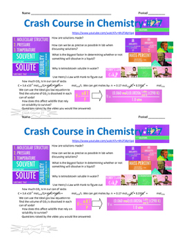 Crash Course in Chemistry 27 Solutions