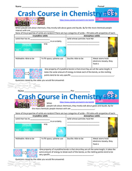 Crash Course in Chemistry 33 Doing Solids