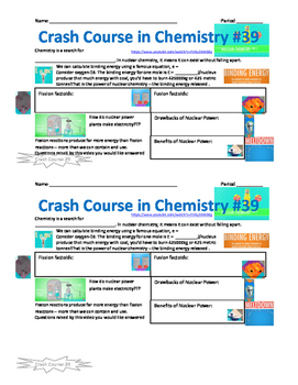 Crash Course in Chemistry 39 Nuclear Chemistry Part 2: Fusion and Fission