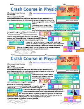 Crash Course in Physics 9 - Work, Energy and Power
