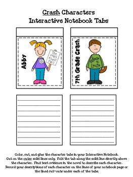 Crash Interactive Notebook Character Tabs (Jerry Spinelli)