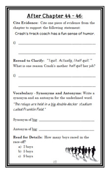 Crash (Jerry Spinelli) Novel Study / Reading Comprehension (37 pages)