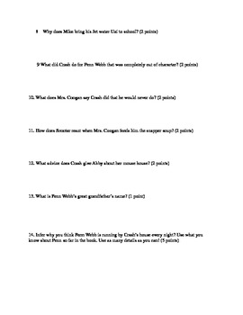Crash Novel By Jerry Spinelli, Quiz for chapters 35-39