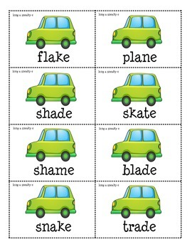 Crash! Phonics Game for Long A Silent E Words