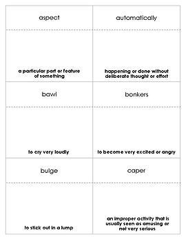 Crash Vocabulary Bingo