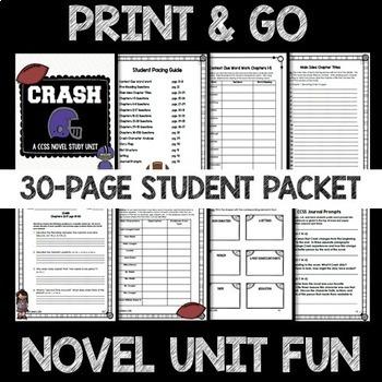 Crash by Jerry Spinelli CCSS Novel Study Unit | TpT