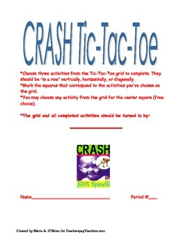 Crash by Jerry Spinelli - End of Book Activity Assessment