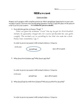 Crash by Jerry Spinelli chapter 1 questions