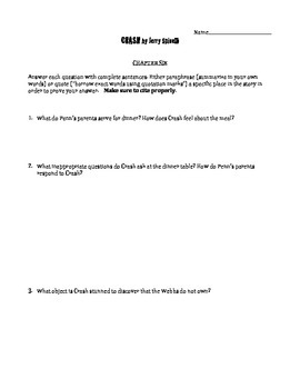 Crash by Jerry Spinelli chapter 6 questions