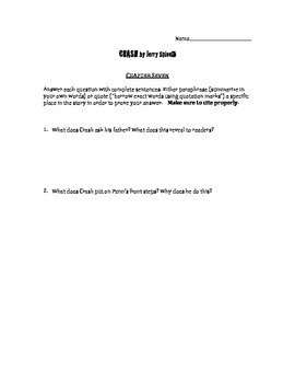 Crash by Jerry Spinelli chapter 7 questions