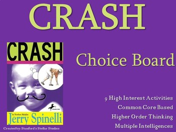 Crash by Spinelli Choice Board Tic Tac Toe Novel Activities Menu Assessment