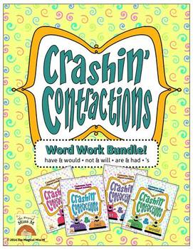 Crashin' Contractions Word Work Bundle {Will & Not, Have &