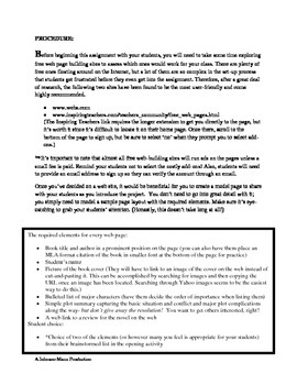 Creating a Web Study Guide for a Novel