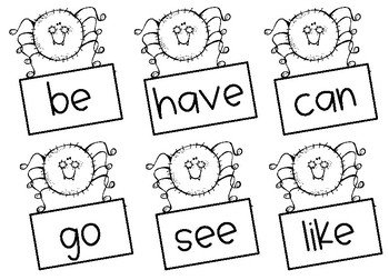Crawling for Sight Words- Spider Center